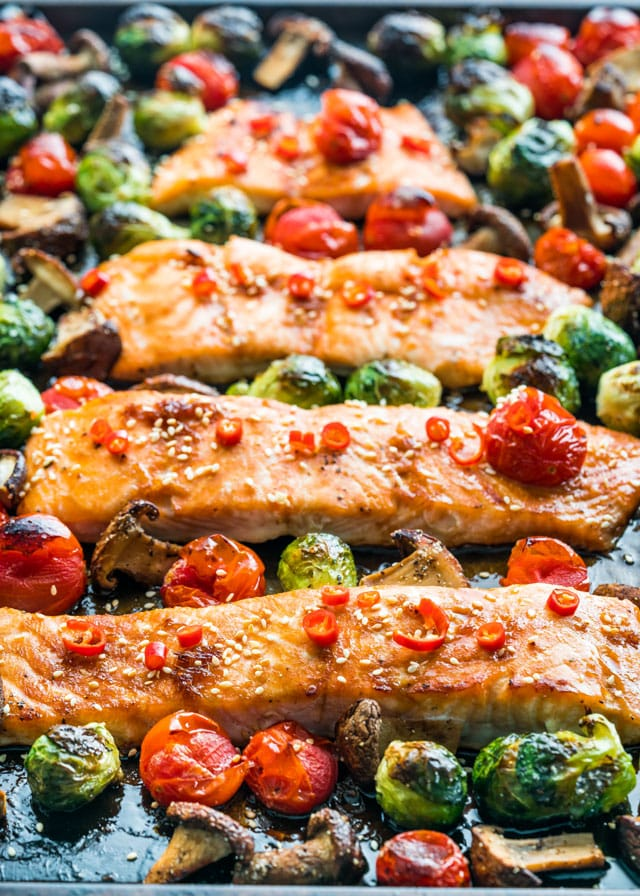 Teriyaki Salmon Sheet Pan Dinner fresh out of the oven