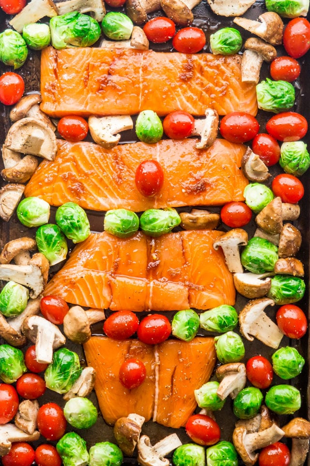 Teriyaki Salmon Sheet Pan Dinner ready for baking