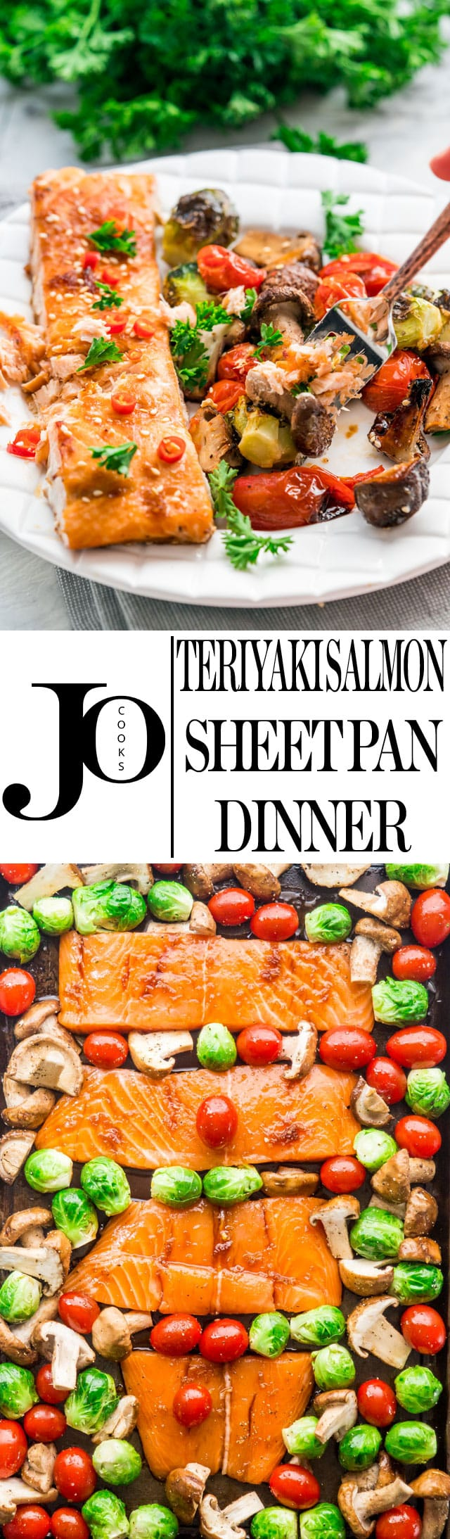 This Teriyaki Salmon Sheet Pan Dinner can be ready from start to finish in 30 minutes! Fast, flavorful and all in one pan! #teriyakisalmon #sheetpandinner