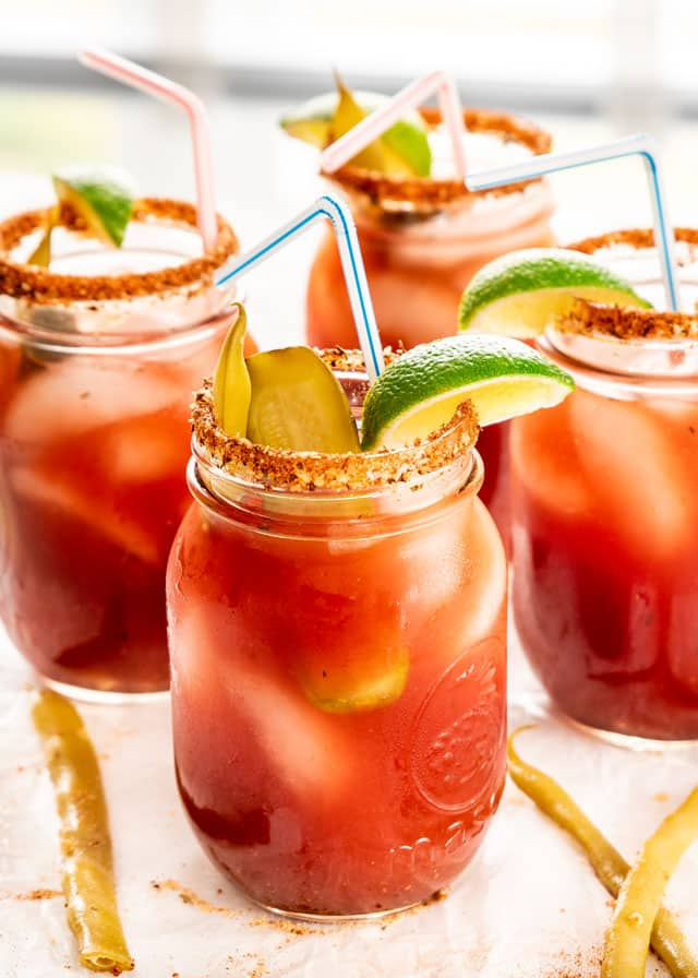 Classic Canadian Caesars in jars