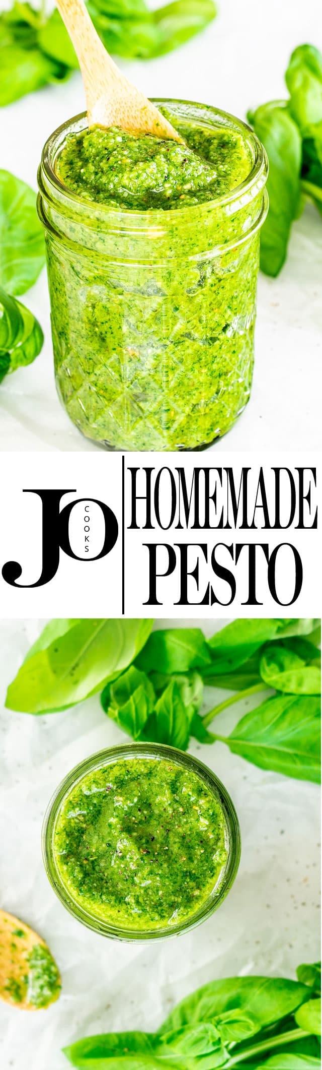 This Easy Homemade Pesto will make you say goodbye to the store bought version. A handful of ingredients is all you need for this no fail delicious pesto! #pesto #homemadepesto #pestorecipe