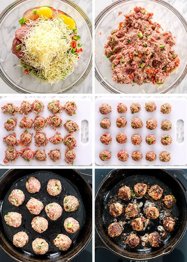 Philly Cheese Steak Meatballs process shots