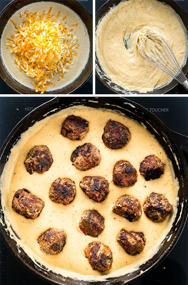 Philly Cheese Steak Meatballs process shots for making cheese sauce