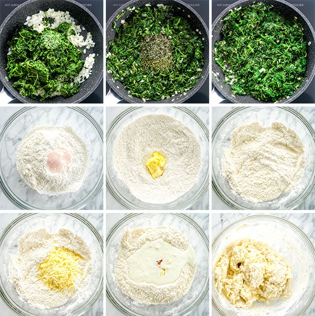 Spinach Feta Wreath process shots