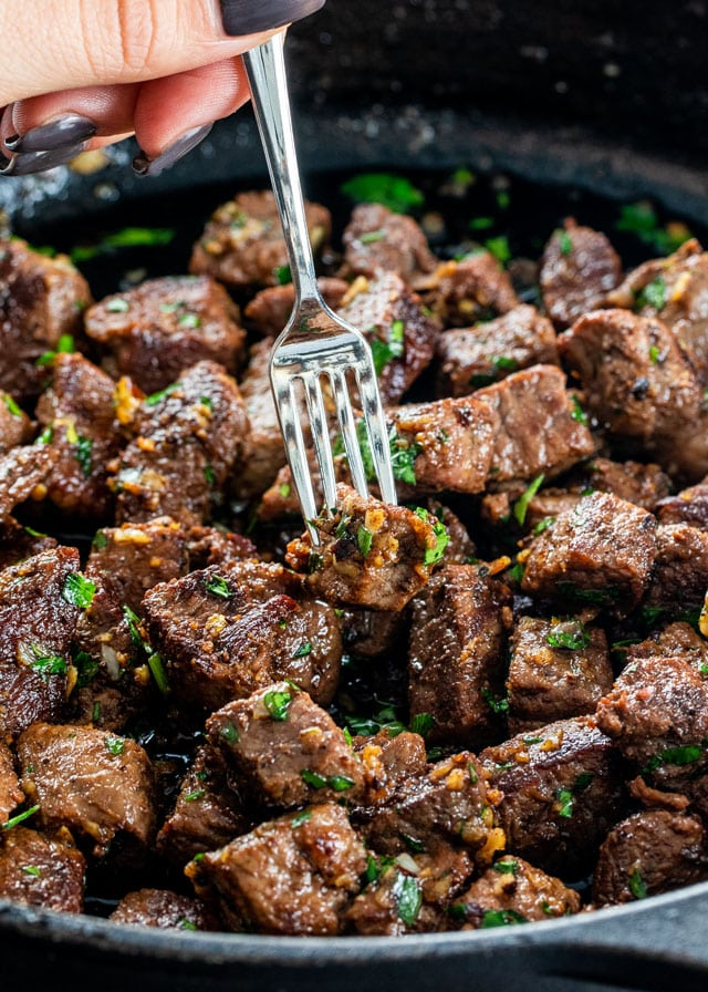 Garlic Butter Steak Bites in a skillet