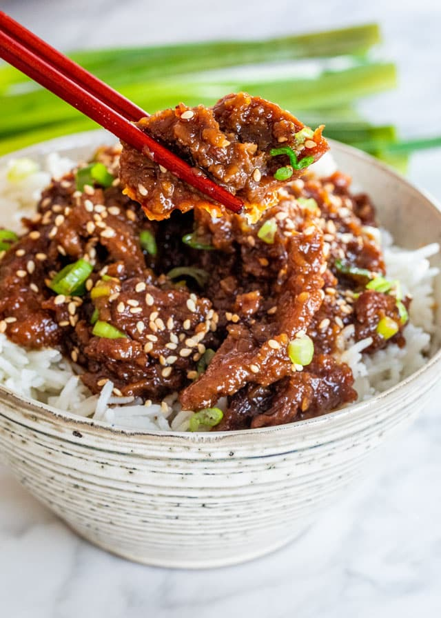 Instant Pot Mongolian Beef in a bowl