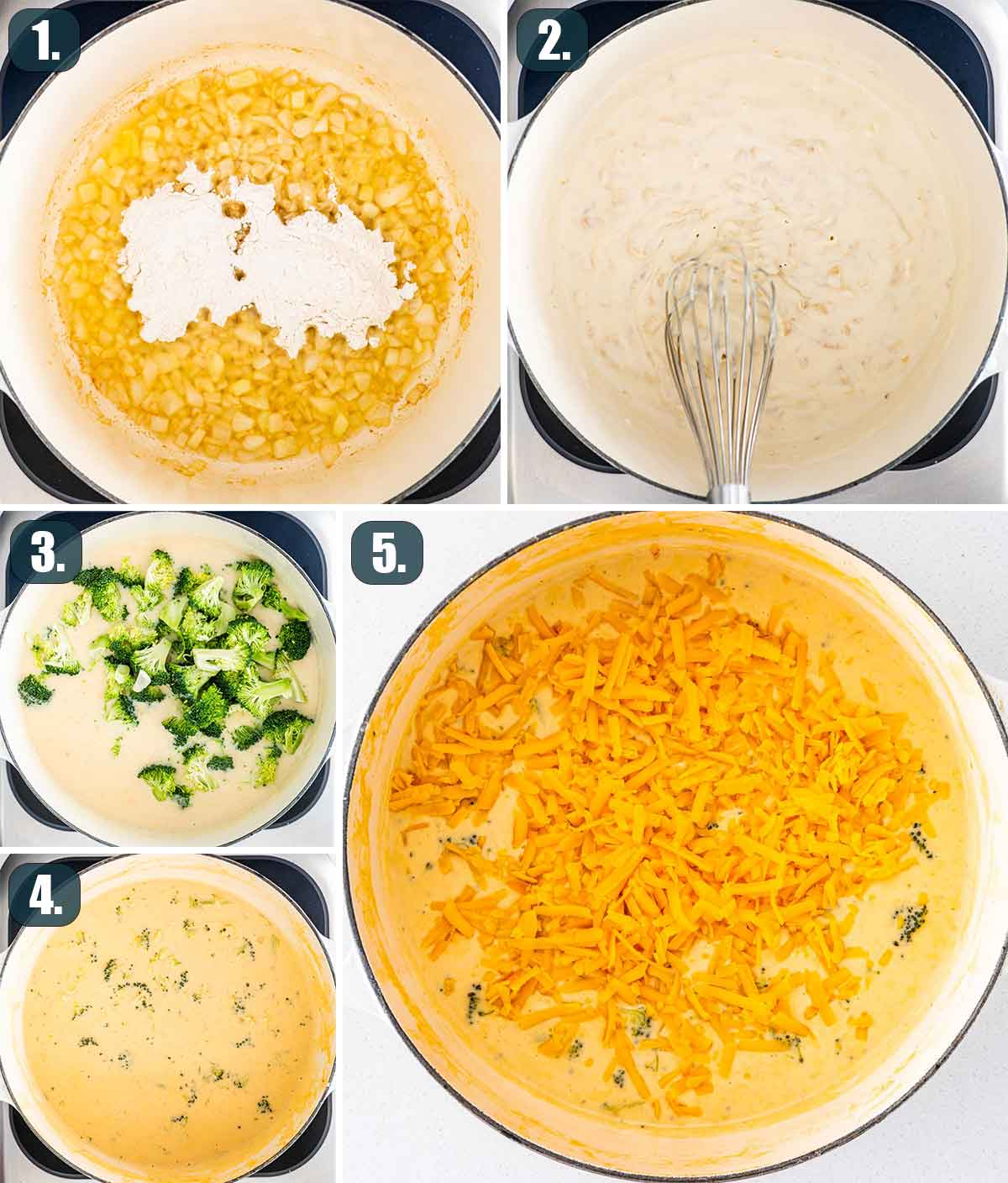detailed process shots showing how to make broccoli cheese soup.