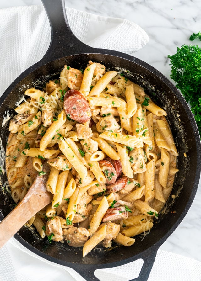 Cajun Chicken Pasta in a skillet