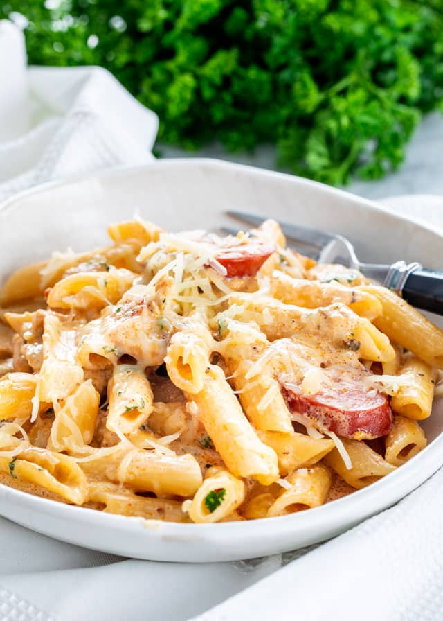Cajun Chicken Pasta in a white plate