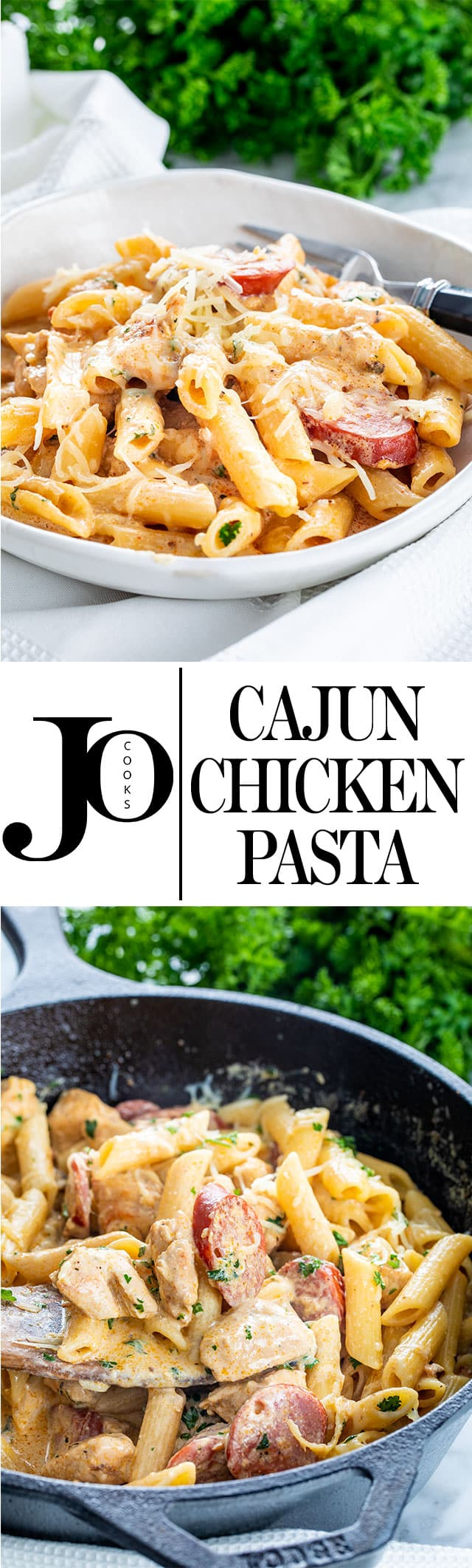 This Cajun Chicken Pasta is creamy, cheesy, loaded with flavor and on the table in 30 minutes! An easy weeknight dinner your whole family will love! #cajunchickenpasta #cajunchicken