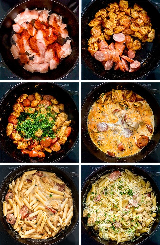 Cajun Chicken Pasta process shots