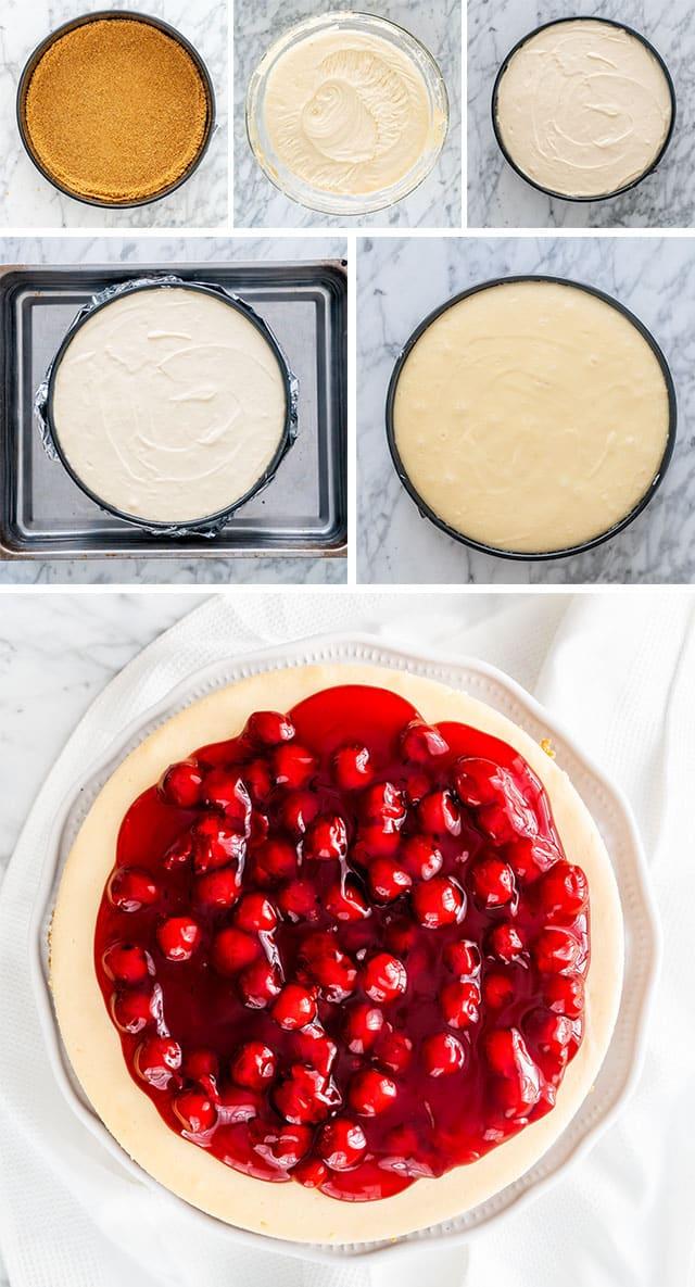 Cheesecake process shots