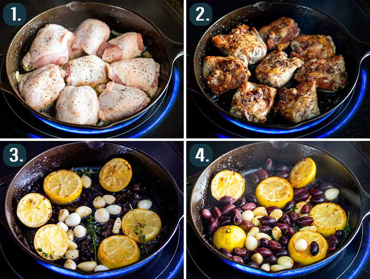 process shots showing how to make greek chicken thighs in a skillet.