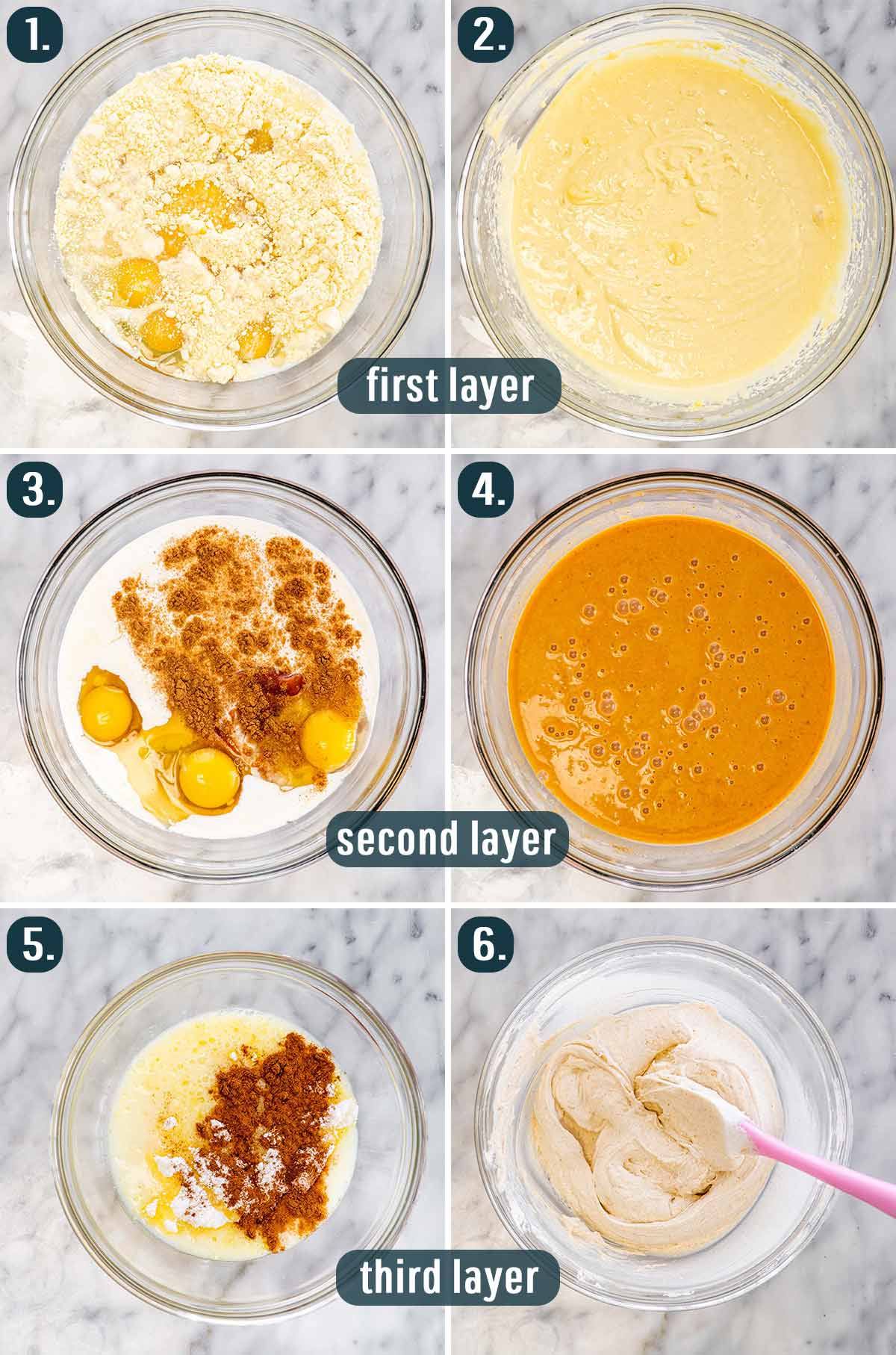 detailed process shots showing how to make the 3 layers for pumpkin magic cake.