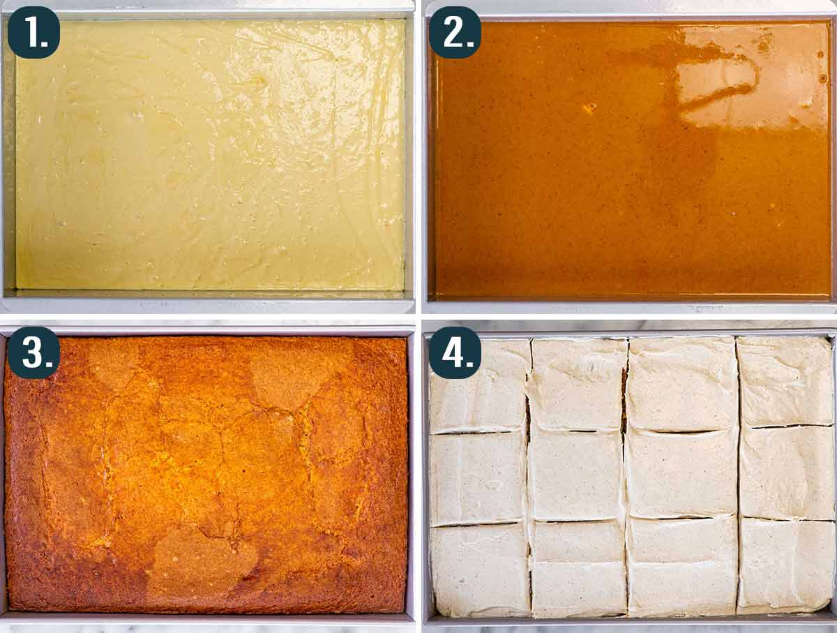 process shots showing how to assemble pumpkin magic cake.