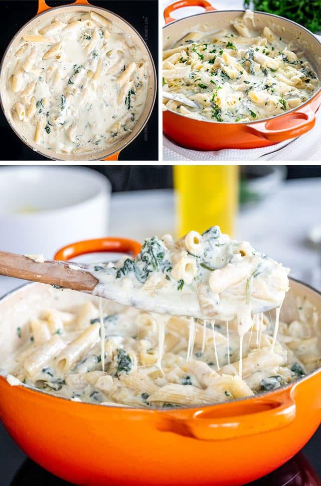 Spinach Artichoke Pasta process shots