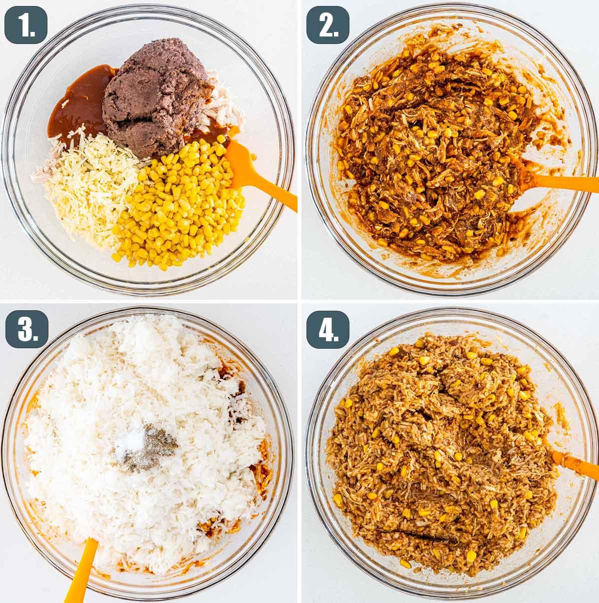 process shots showing how to make chicken enchilada casserole.