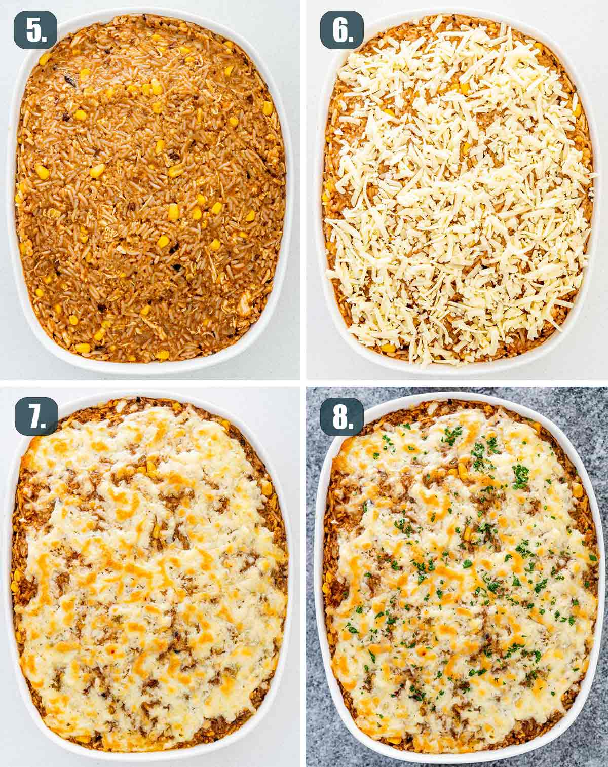 process shots showing how to assemble and bake chicken enchilada rice casserole.