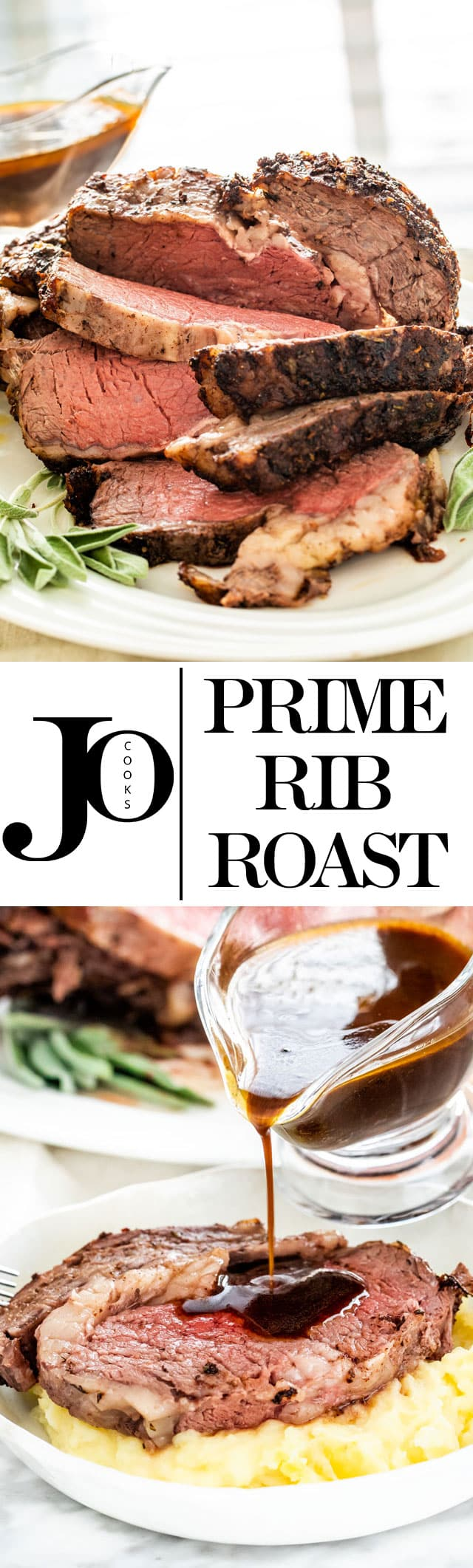 This Prime Rib Roast is cooked to a perfect medium rare, and smothered in a compound butter spiced with chili powder, cumin, fresh herbs, and garlic. This feast is fit for any holiday or special occasion. #primeribroast
