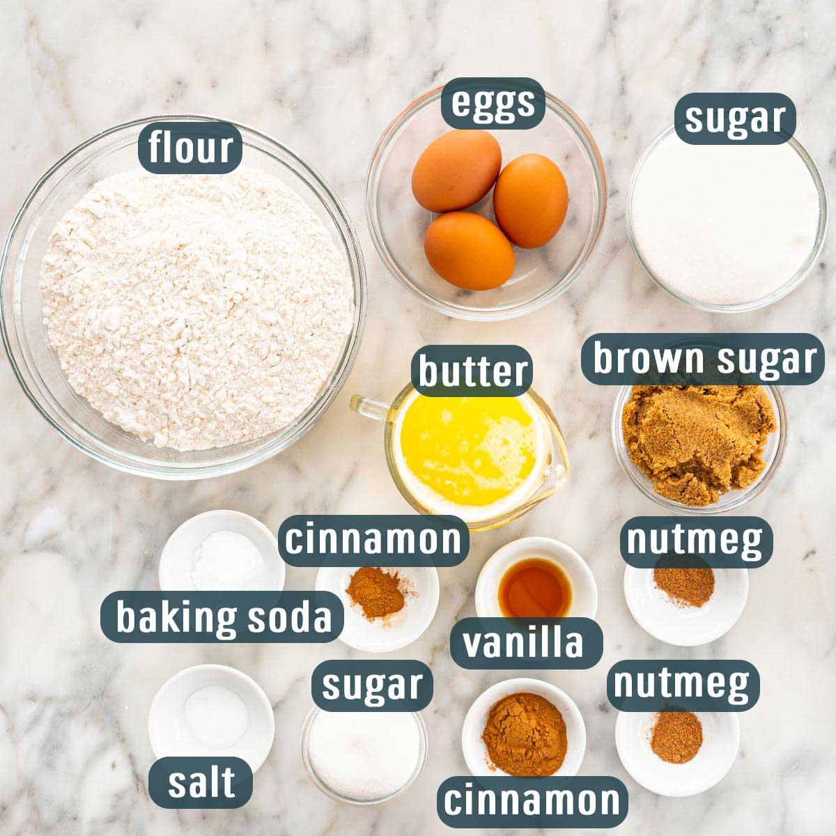 overhead shot of ingredients needed to make snickerdoodle cookies.