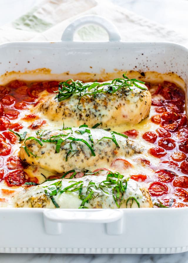 Caprese Chicken in a baking dish