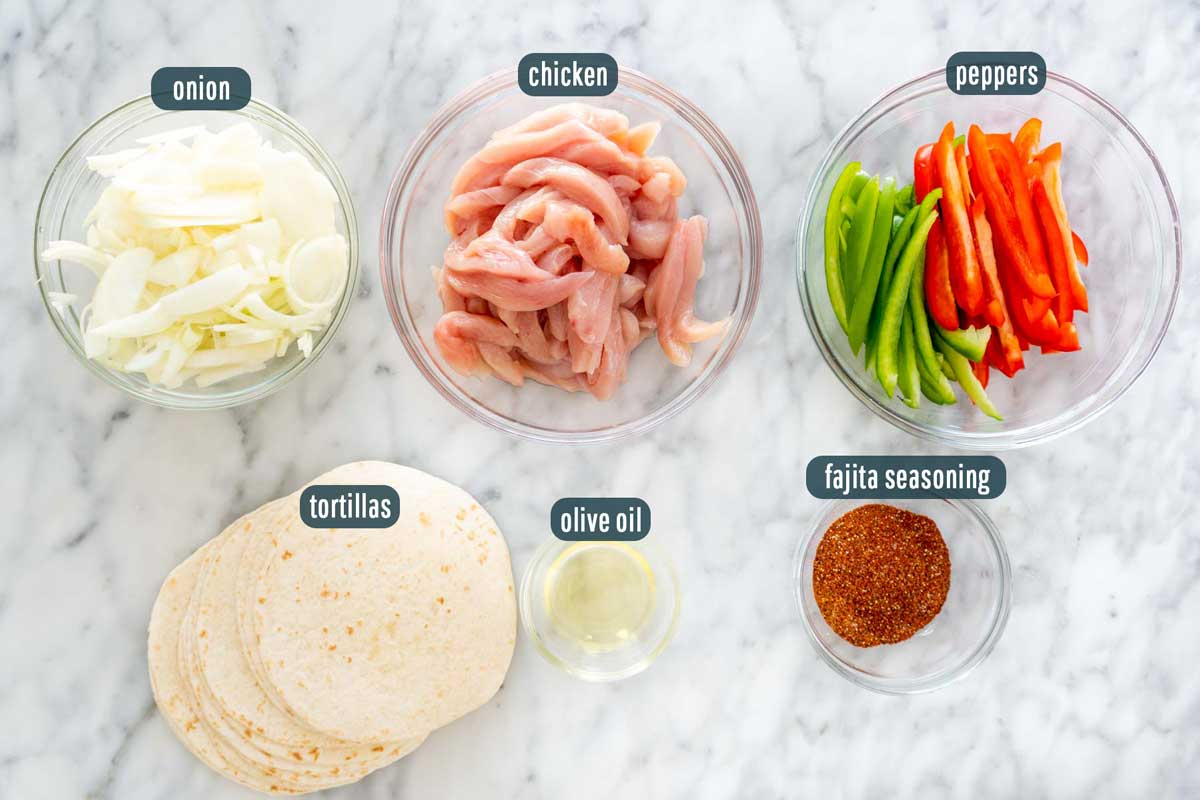 overhead shot of ingredients needed to make chicken fajitas