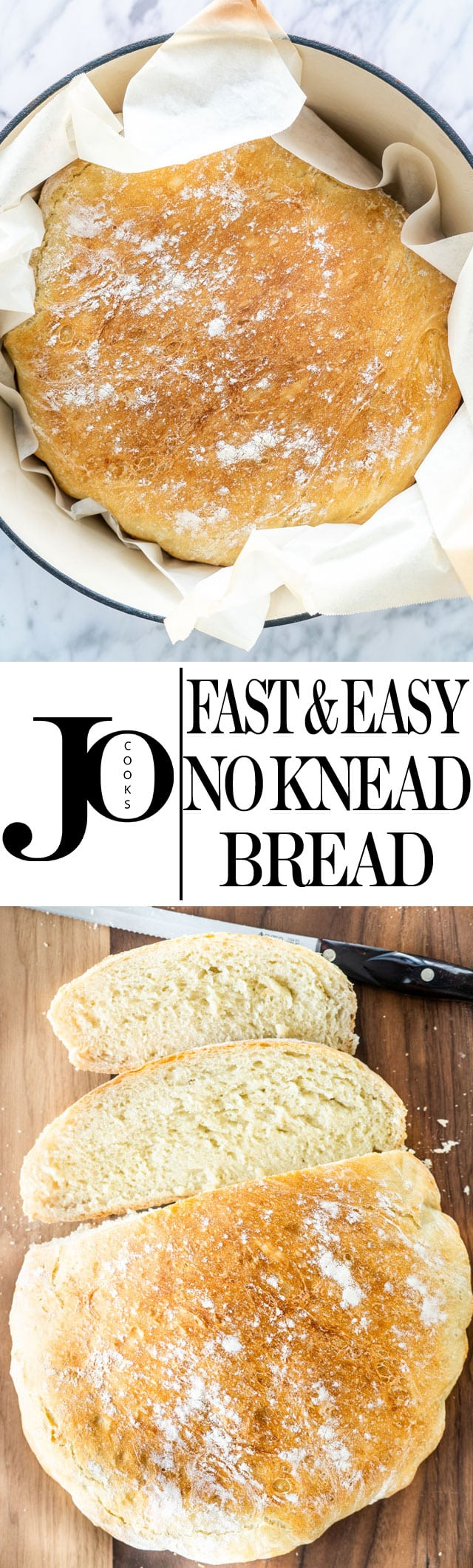 Anyone can can be an amazing baker with this Fast and Easy No Knead Bread recipe! Using only 4 ingredients, learn how to make this delicious loaf that's soft inside and crusty on the outside. #nokneadbread