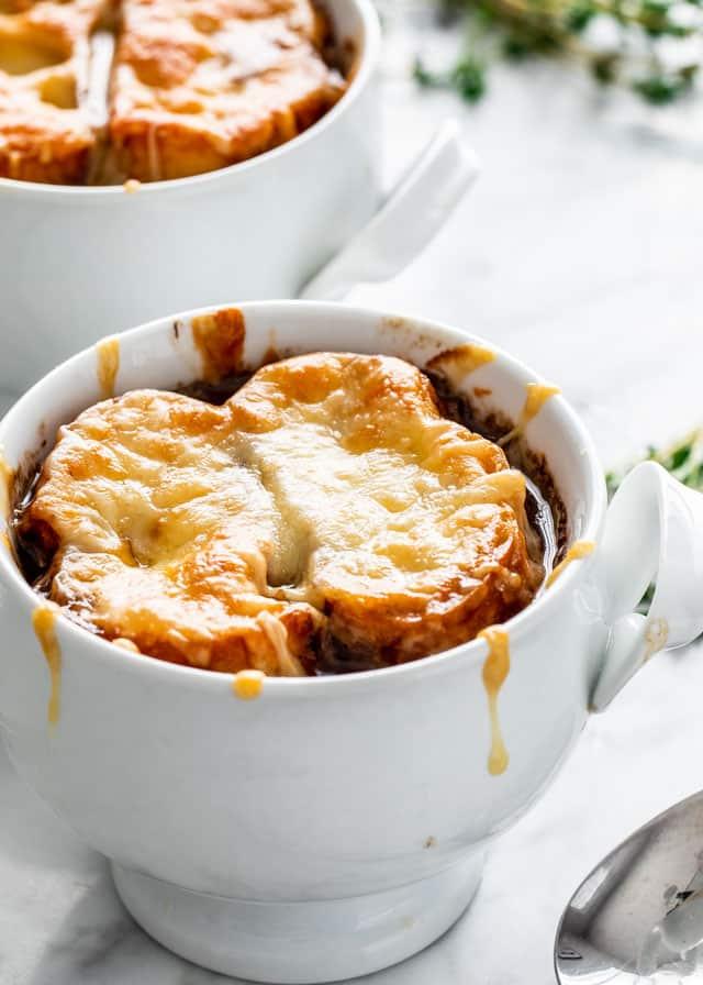 French Onion Soup in two ramekins