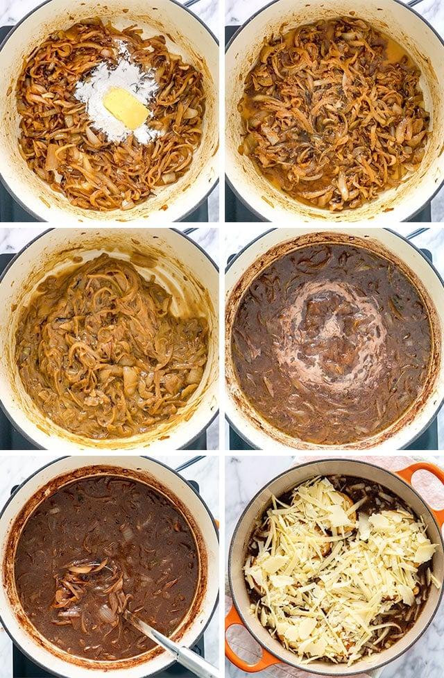 process shots of making French Onion Soup