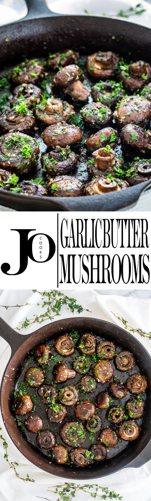 These Garlic Butter Mushrooms are the perfect easy appetizer to serve any time of the year! With only 15 minutes, one skillet, and a handful of ingredients, this dish is going to be a hit. #garlicmushrooms
