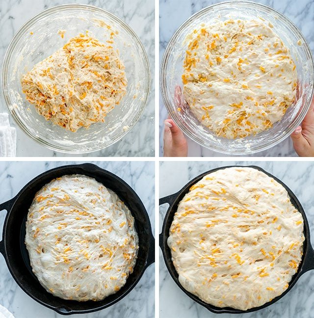 process of making no knead skillet bread