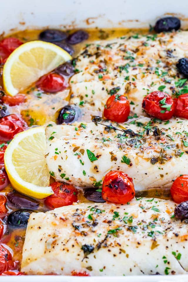 Lemon Butter Baked Cod in a white baking dish
