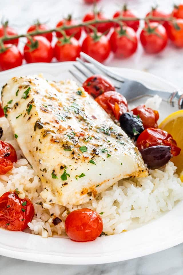 Lemon Butter Baked Cod over rice