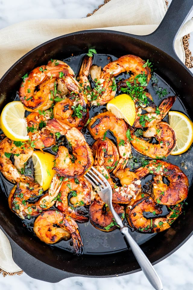 overhead shot of Honey Garlic Shrimp in a skillet