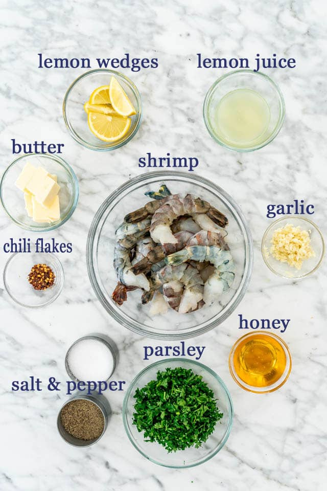 Honey Garlic Shrimp ingredients
