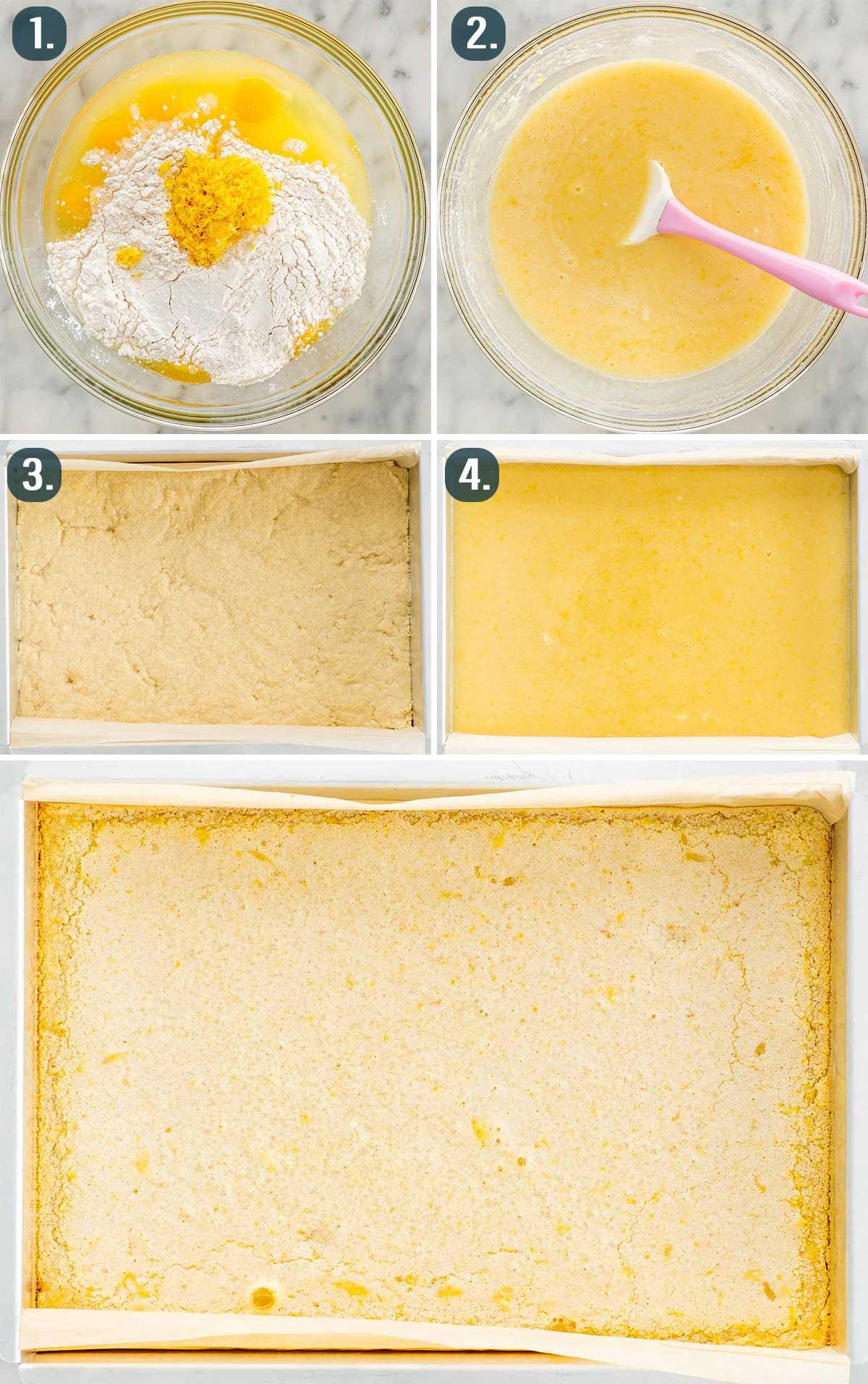 process shots showing how to make lemon bars.