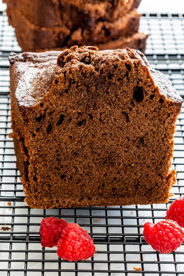Chocolate Pound Cake on a cooling rack
