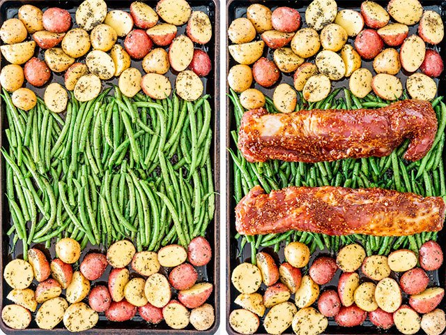 Honey Mustard Pork Tenderloin assembled on a baking sheet with potatoes and green beans