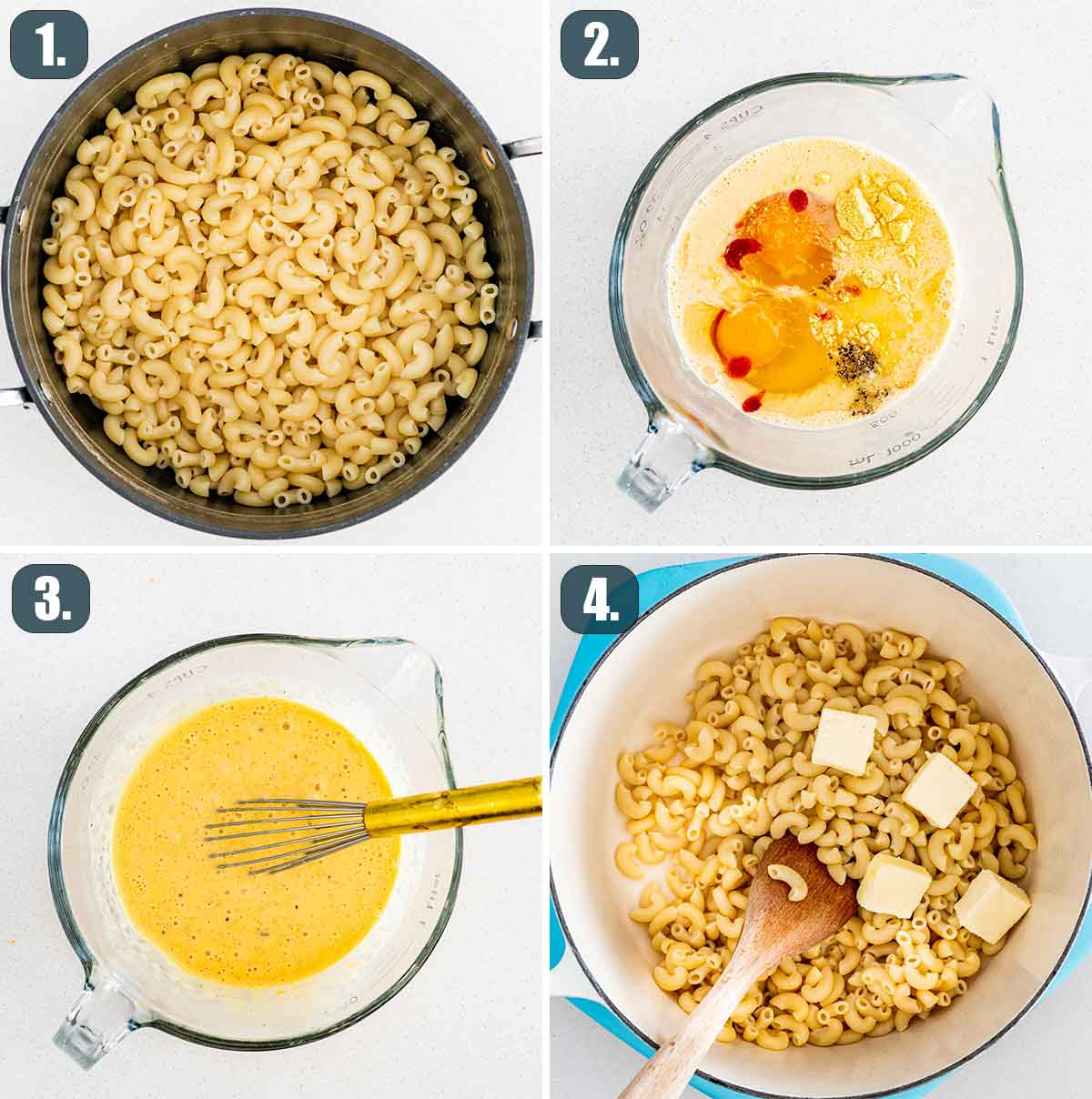 process shots showing how to make stovetop mac and cheese.