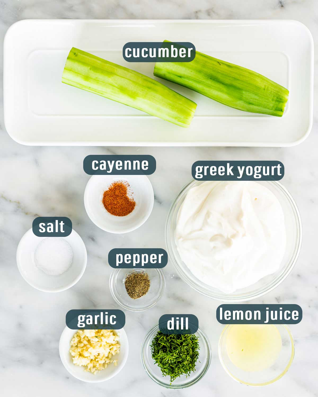 overhead shot of ingredients needed to make tzatziki sauce.