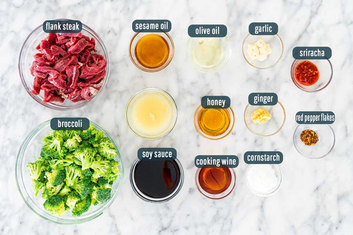overhead shot of ingredients needed to make beef and broccoli