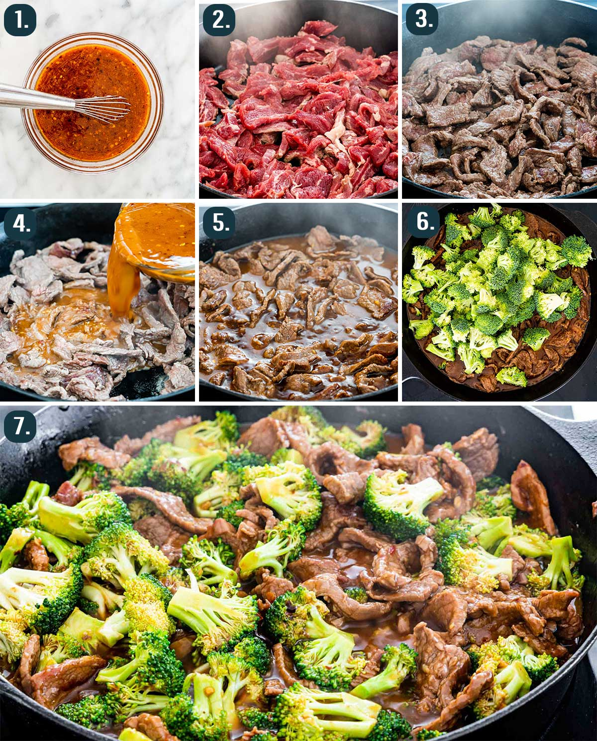 process shots showing how to make beef and broccoli