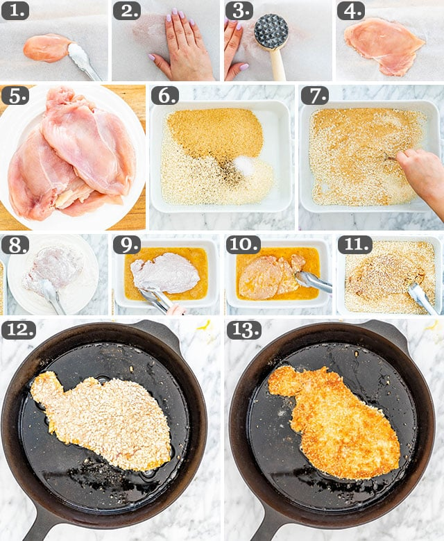 process shots showing how to make Chicken Parmesan
