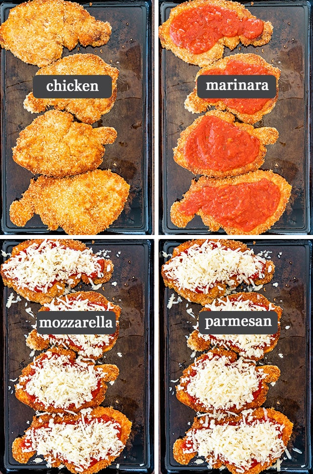 process shots showing how to assemble Chicken Parmesan for baking