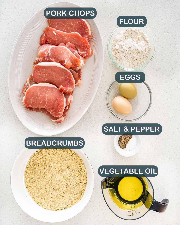overhead shot of ingredients needed to make pork schnitzel.