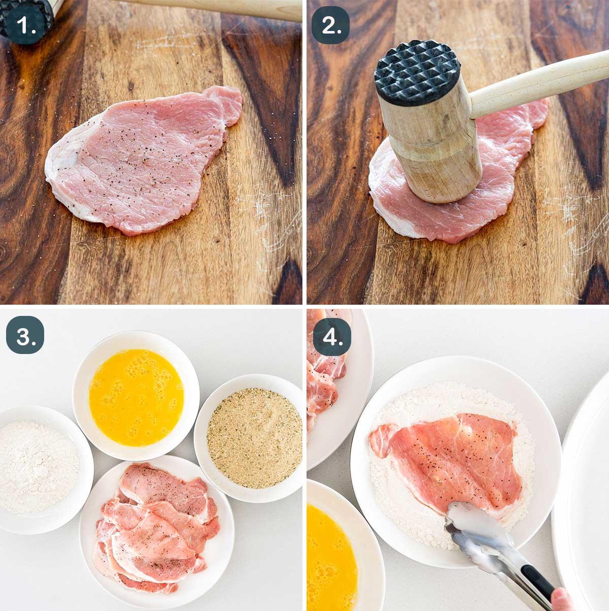 process shots showing how to prep pork chops to make pork schnitzel.