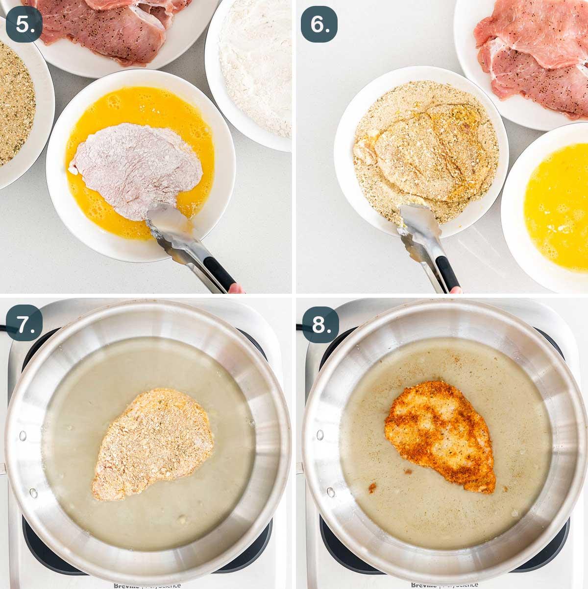 process shots showing how to make pork schnitzel.