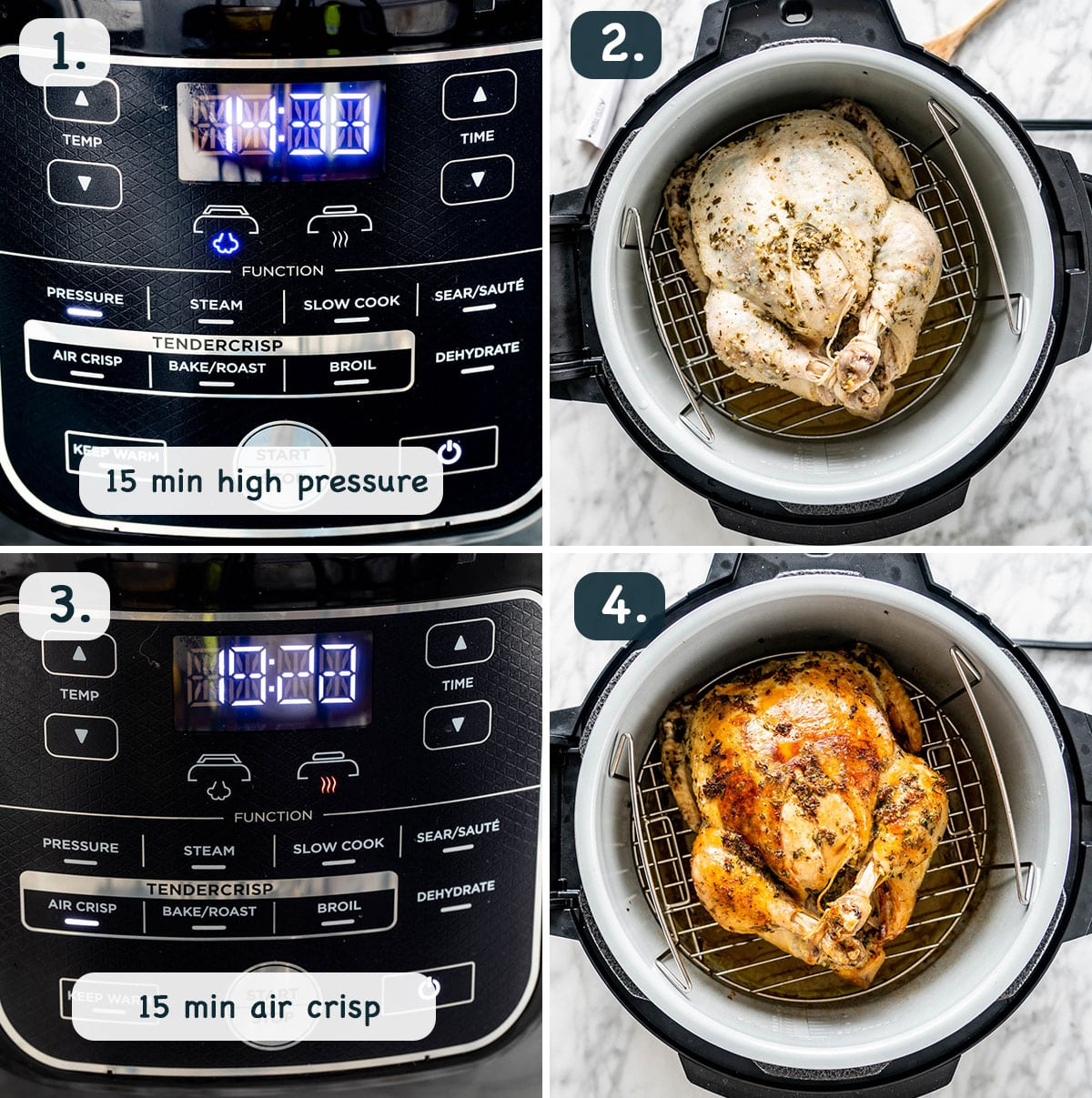 process shots showing how to cook a chicken in the pressure cooker