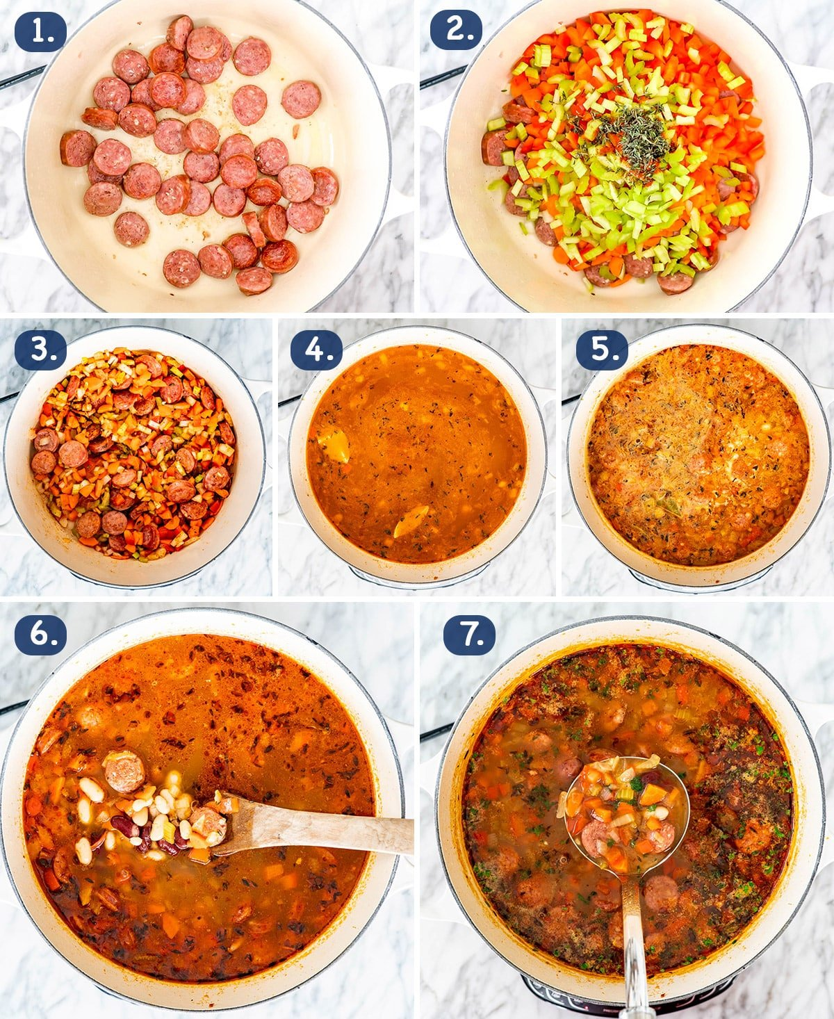 process shots showing how to make Sausage and Bean Soup