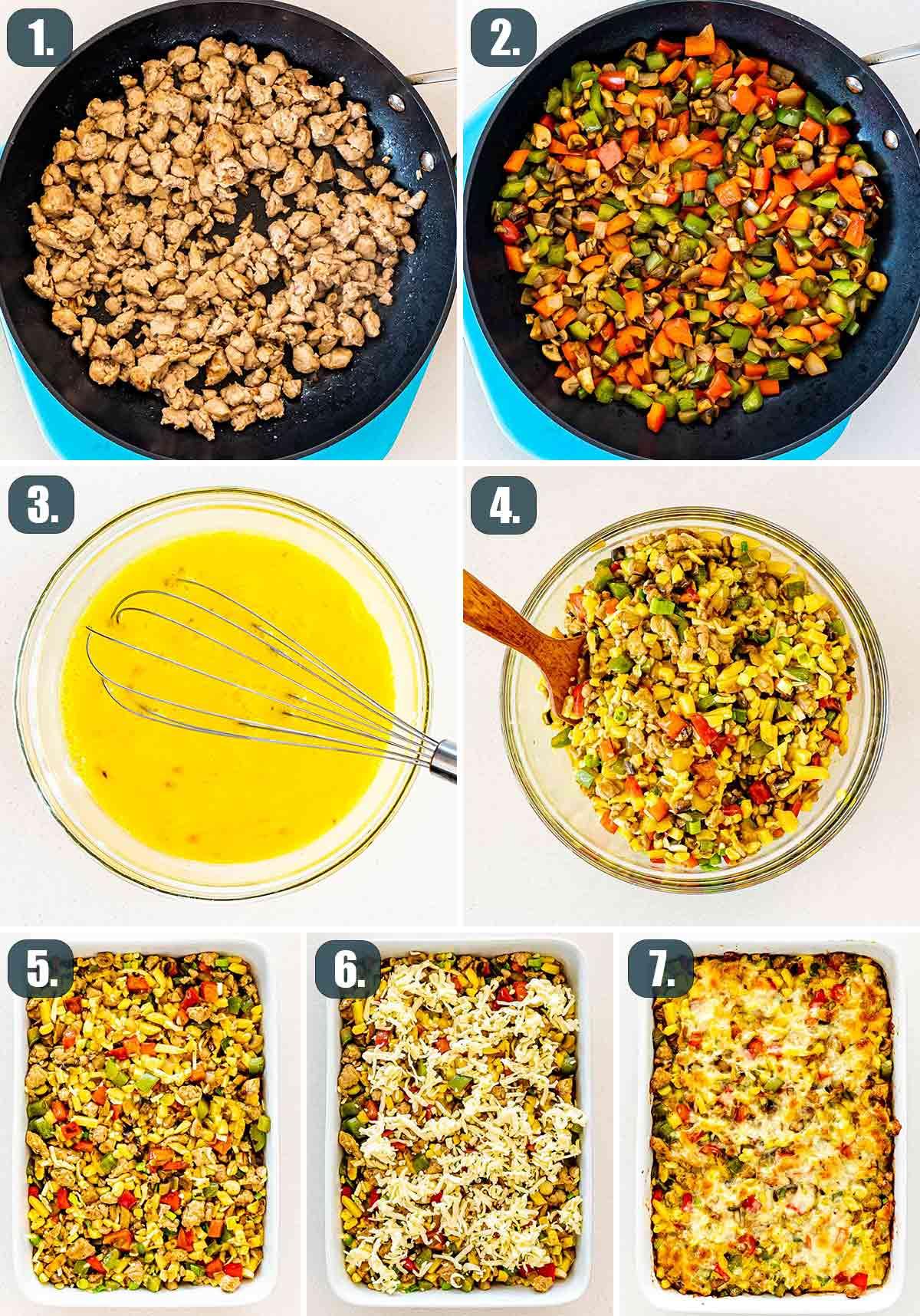 detailed process shots showing how to make sausage potato breakfast casserole.